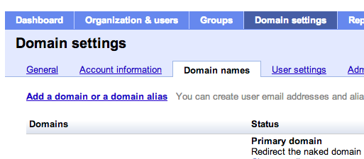 Google apps naked domain